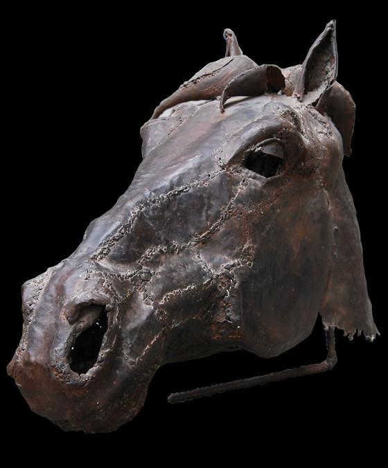 Arte Escultura, escultura cabeza de caballo, arte cabeza de caballo, escultura en chapa, Enrique Fernández Calatayud, horse head sculpture